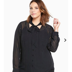 Torrid black sheer striped choker tie button top